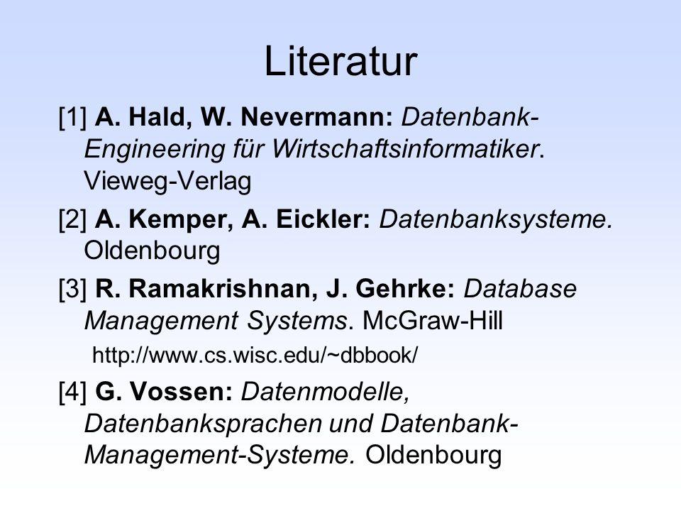 Literatur [1] A. Hald, W. Nevermann: Datenbank-Engineering für Wirtschaftsinformatiker. Vieweg-Verlag.